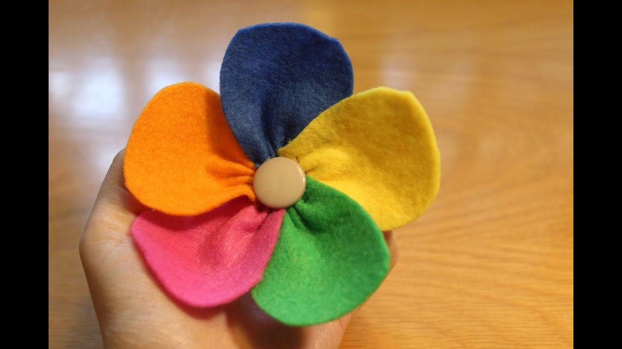 C mo hacer una flor de colores con fieltro facilisimo - Como hacer flores ...