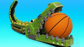 AnimaCars -  The CROCODILE Conveyor Belt is playing Basketball ! cartoons with animals