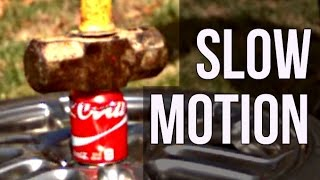 Empty Coke Cans vs Sledge Hammer - Slow Mo Lab