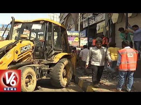 GHMC Demolishes 4,667 Footpath Encroachments In Three Days | V6 News