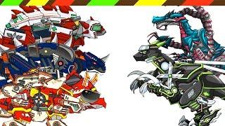 Dino Robot Battlefield: Ninja Velociraptor, Ankylosaurus VS Dark Euoplo VS Baryonyx VS Triceramus