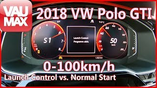2018 VW Polo GTI Launch Control vs. Normal Acceleration Beschleunigung 0-100 km/h Tachovideo 0-60mph