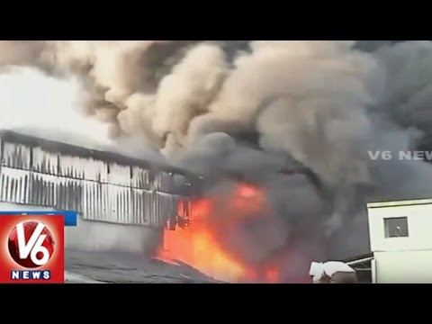 Massive Fire Accident in Plastic Chairs Company At Bhopal | Madhya Pradesh | V6 News
