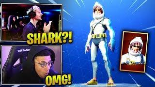 NINJA & MYTH REACT *NEW* SHARK FIN SKIN! - Fortnite Epic & Funny Moments (Fortnite Battle Royale)