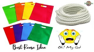 Best reuse idea of fabric carry bag using rope | Best out of waste
