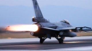 HAF F-16   Dusk Takeoffs with Afterburner    Volos Airport   Loud F16 in Action