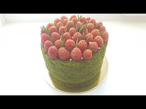 Шпинатный торт с малиной🍃весь процесс приготовления🍃Spinach cake