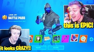 Streamers React *TIER 100 BATTLE PASS* Fortnite: Chapter 2! (All Unlocks)
