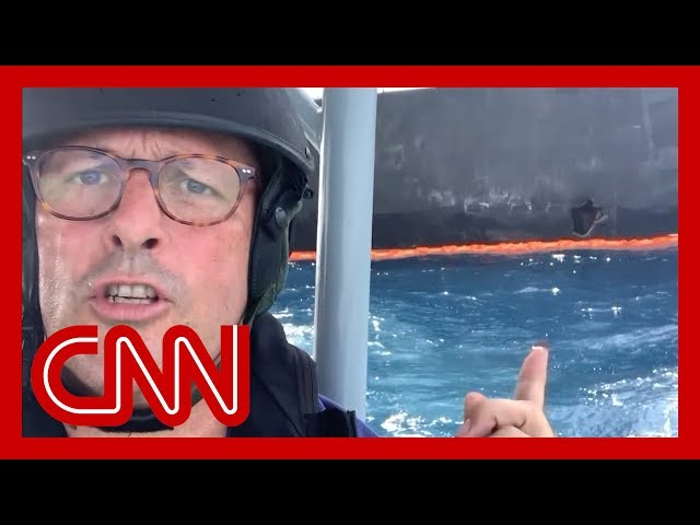 CNN reporter gets up-close look at attacked tanker thumbnail