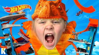 Save HOT WHEELS CITY from the T-REX RAMPAGE! (SKIT & OBSTACLE!) KIDCITY