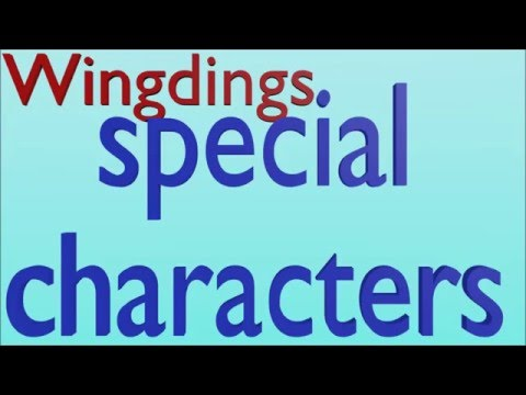 Webdings Special Characters Intro Outro