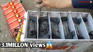 Restoration a truck battery, How to make a battery in local work shops Pakistani workers