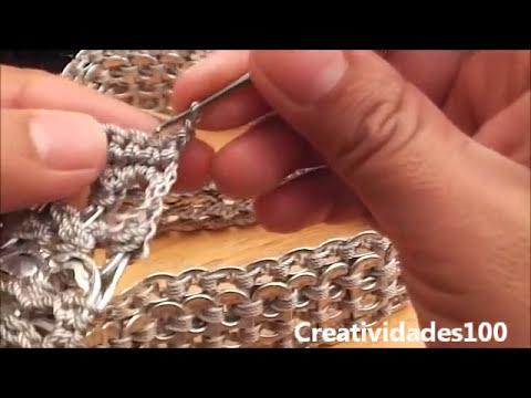 Como hacer una bolsa con fondos de bote de lata y anillas: Bolsa