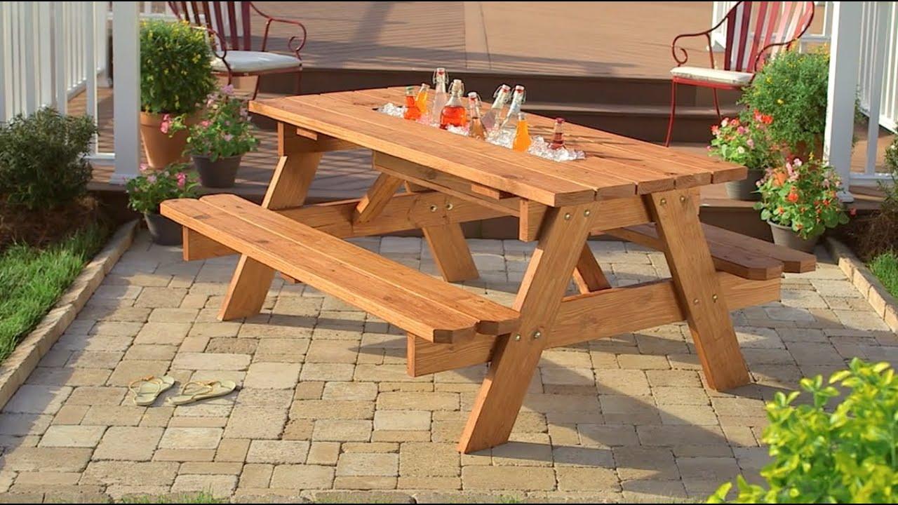 C mo crear una mesa de picnic con hielera youtube - Como hacer una mesa de ordenador ...