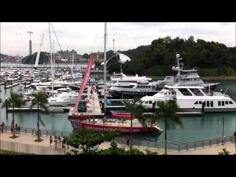 Clipper Yachts arrive at Marina Keppel Bay Singapore Sat 28 Jan 2012.wmv