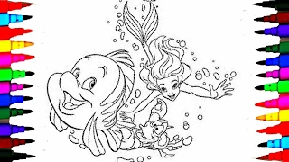 Disney Princess Ariel and Flounder BEST LEARNING Coloring Book l Pages Videos for Children