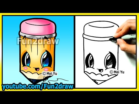 How to Draw Easy Things - Cute Pencil for School - Cartoon drawing tutorials Fun2draw kawaii