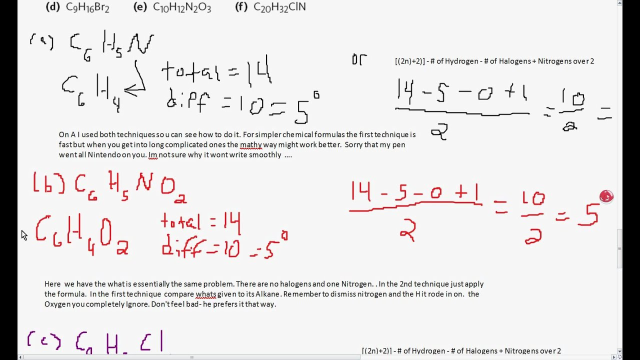 Organic Chemistry Tutorial Calculating Degree Of