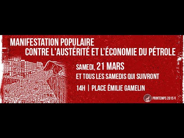 MANIFESTATION POPULAIRE CONTRE L'AUSTRIT ET L'CONOMIE DE PTROLE  lanons le printemps
