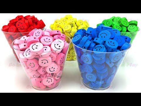 Smiley Face Surprise Toys Disney Mickey Mouse Princess Masha Learn Colors Play Doh Kids