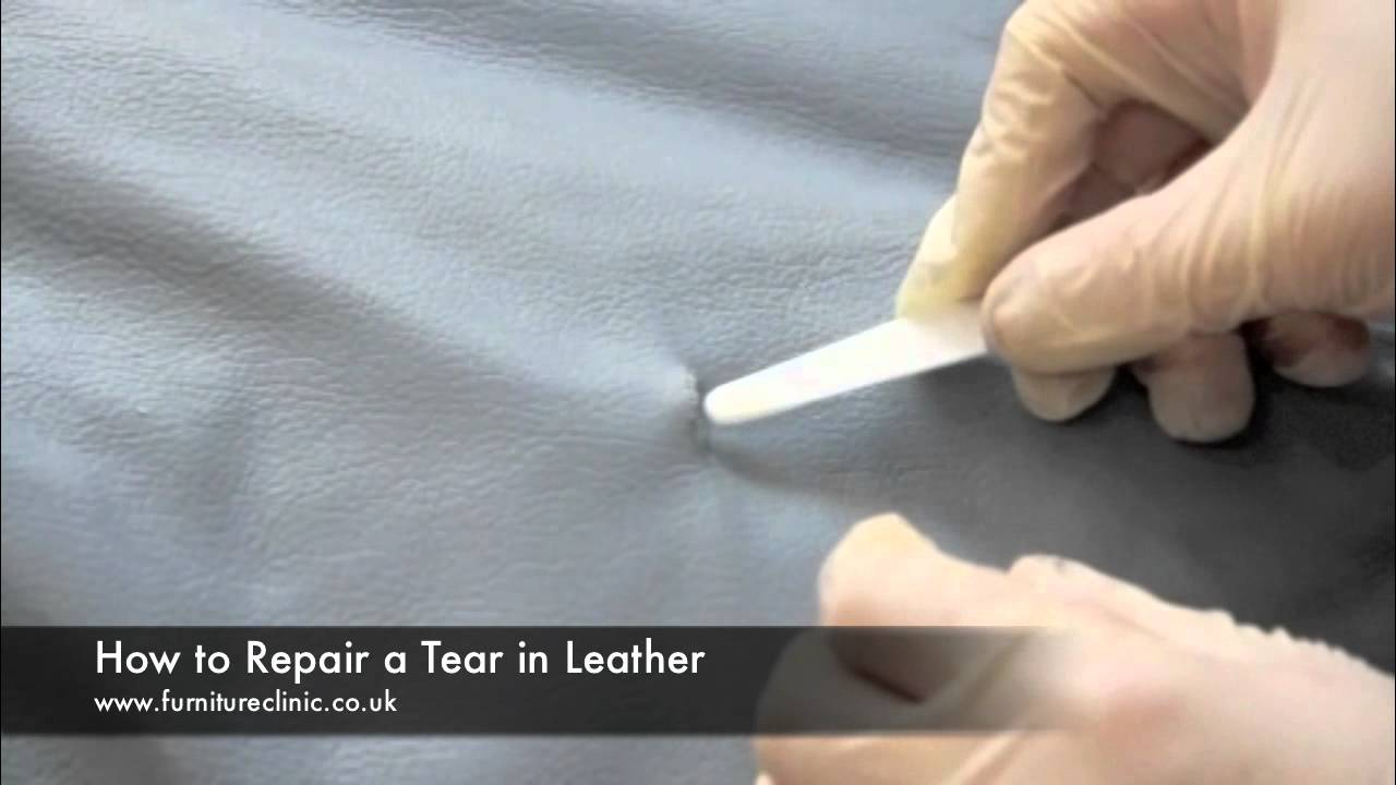 repairing a tear in leather youtube. Black Bedroom Furniture Sets. Home Design Ideas