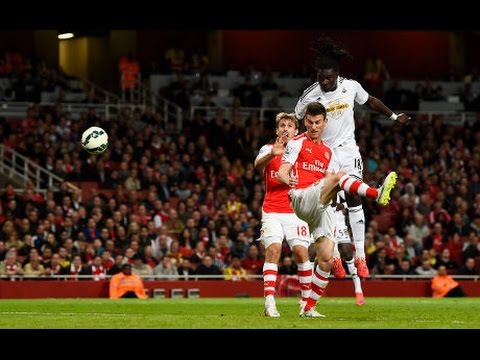 Arsenal vs Swansea city 0-1 Emirates Stadium 11.05.2015 Bafetimbi Gomis's headers