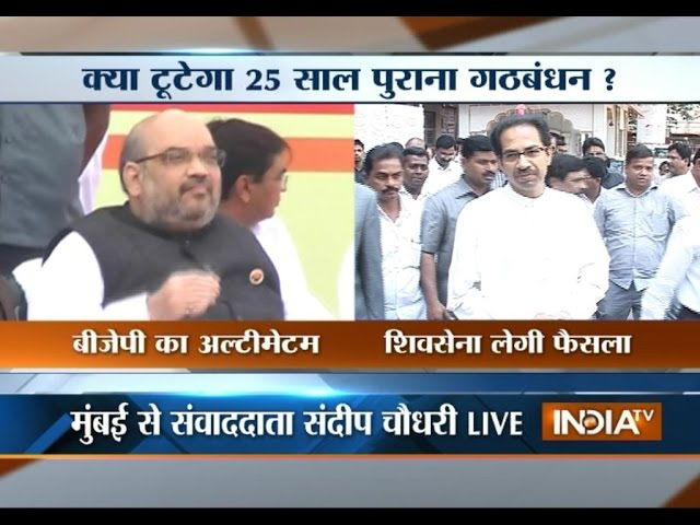 Amit Shah in Mumbai, BJP-Shiv Sena seat-sharing deal likely to be finalised today