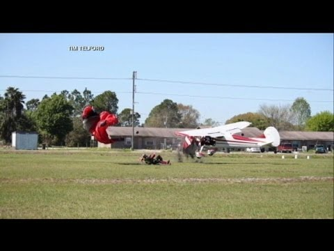 Skydiver's Parachute Gets Tangled Up With Private Plane