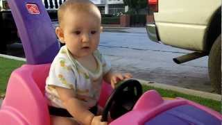 Dad and Pari going for a walk in her pink car