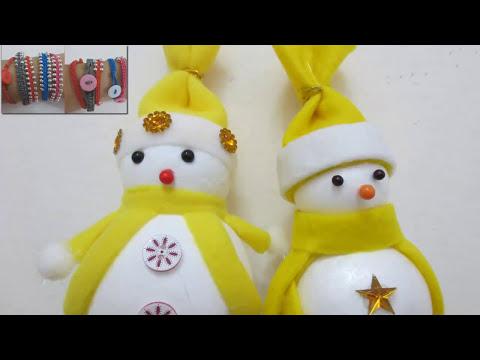 Muñeco de nieve para árbol de Navidad de porexpan. (DIY. Snowman for Christmas Tree)