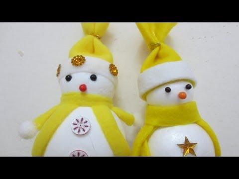 Muñeco de nieve para árbol de Navidad. (DIY. Snowman for Christmas Tree)