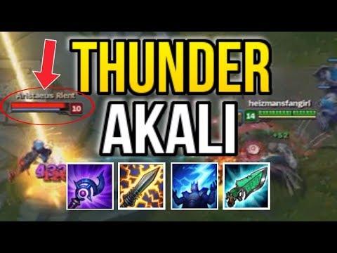 THUNDER MASTER AKALI ONE-SHOT BUILD (PENTA SHOCK COMBO) - League of Legends