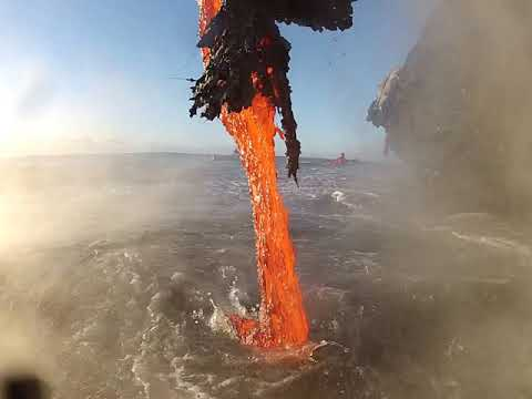 Close-up Video of Lava Dripping Into the Ocean