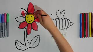 Flower Bee Coloring and Drawing Learn Colors for kids | Learn With Hands