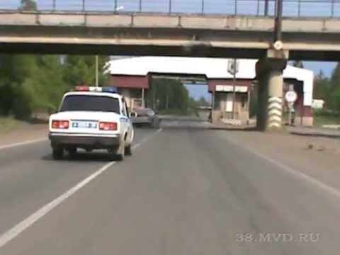 Погоня: Пьяный машинист бульдозера против ДПС. Иркутская область.