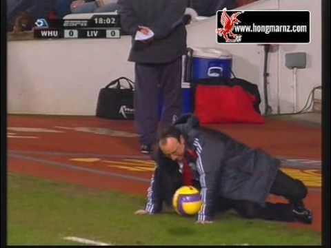 Rafael Benitez takes a tumble