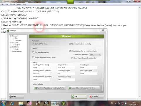 HOW TO STOP RECORDING USE KEY IN ASHAMPOO SNAP 5
