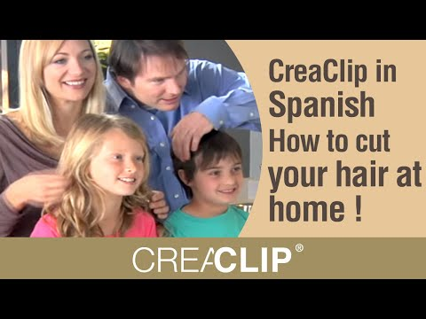CreaClip in Spanish- How to cut your hair at home ! Cut layers. kids hair and bangs!