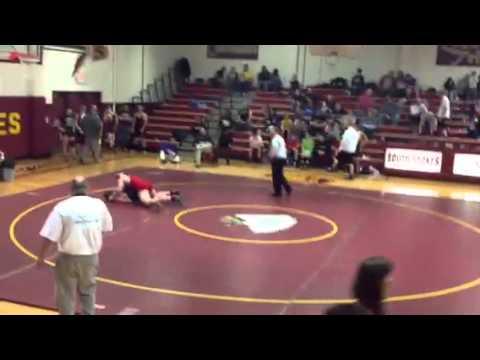 East Surry High School Cody Gaskill wrestling against Surry Central High School