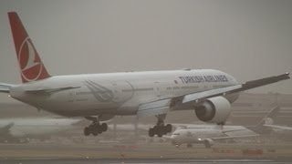 Storm!! Turkish Airlines Boeing 777-300ER Crosswind Landing at Narita