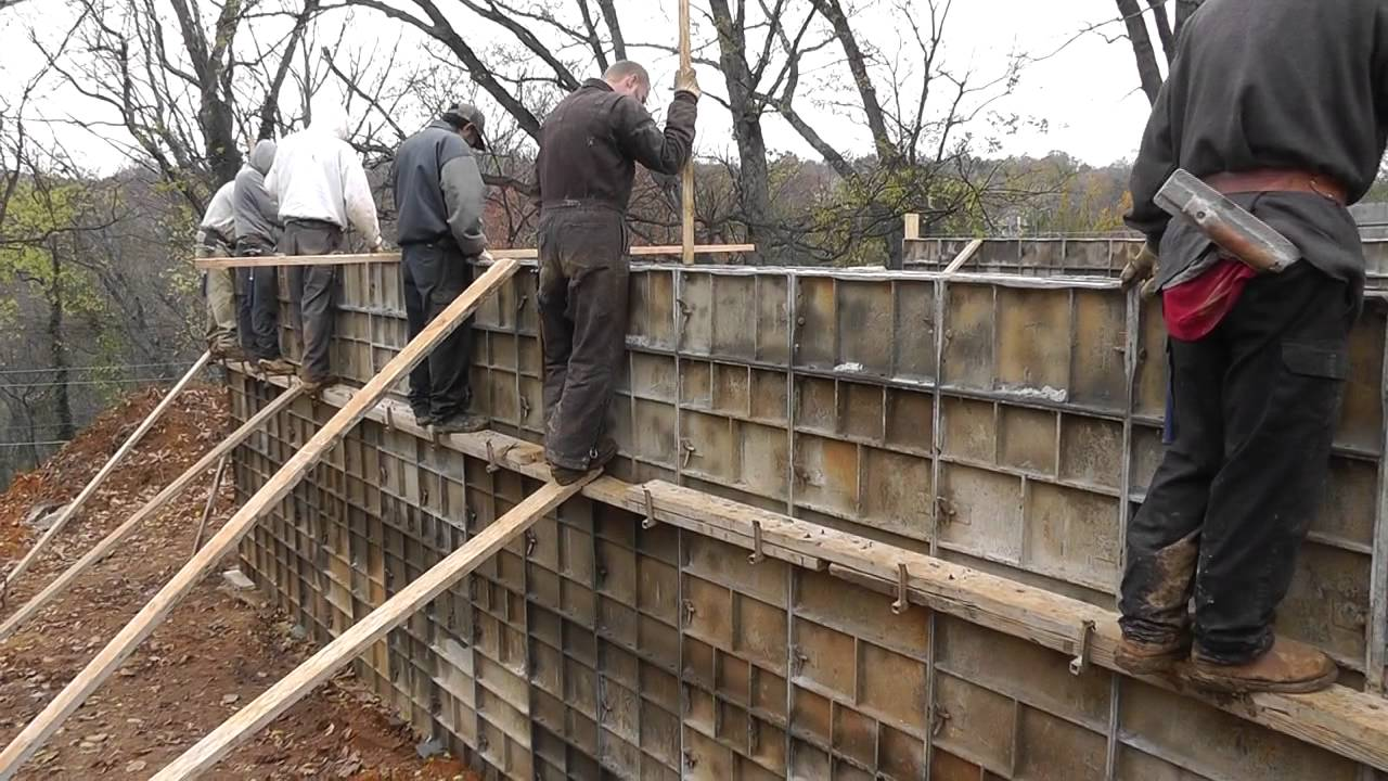 Design build narrow lot vlog 7 pouring the concrete for Concrete basement forms