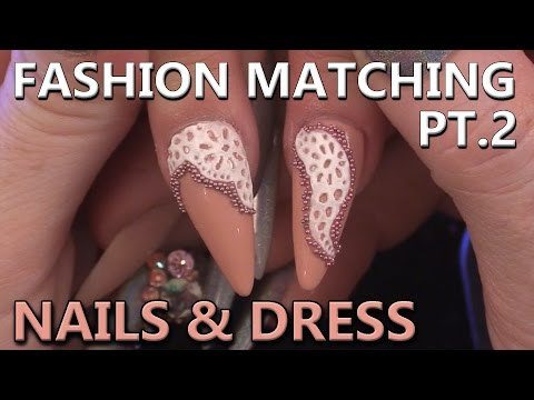 Creating a Lacey Design to match Dress Design  - Nail Tutorial - Fashion Matching Nail Art