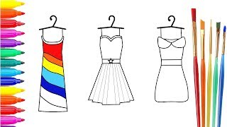 How to Draw Rainbow Dresses  Coloring Pages for Girls  Drawing for Children