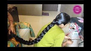 ILHW Model Ganga's Heavy Oiling & Cobra Braid Making by Her Mom in Law