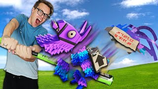 First to Fruit Ninja Wins $10,000 Challenge! (Game Master Clues Hidden inside Piñata in real life)