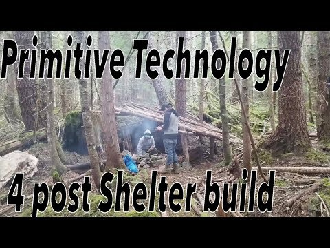 Primitive Technology 4 Post Shelter Build Vlog