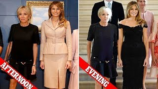 Style queen ! Melania meets Queen Mathilde and French First Lady Brigitte Trogneux at Royal Palace