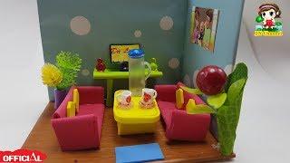 How to DIY Miniature Doll's living room| Tự làm phòng khách cho búp bê