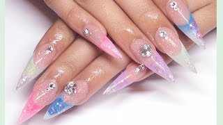 ✿ Springy Glitter Acrylic Nails Design + Dried Flowers ✿