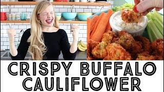 Crispy Buffalo Cauliflower with Vegan Blue Cheese Dip
